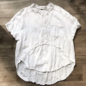 Free People White Lace Button Down Tunic